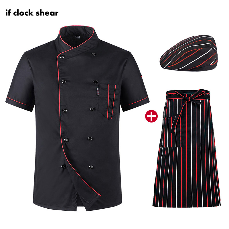 New Short Sleeve Chef Kitchen Uniforms Restaurant Hotel Workwear Unisex Black Cooker Shirts Breathable Thin Jacket + Hat + Apron