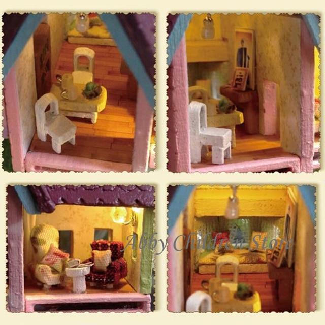 Diy Glas Haus Handarbeit Holzspielzeug Paradise Fällt Leuchten Fliegende  Kabine Haus Modell Mit Lampe Miniaturmöbel Lernspielzeug