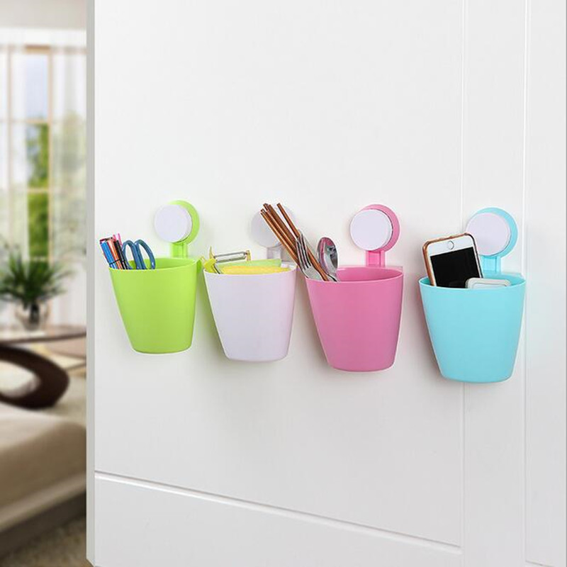 Multi functional bathroom storage box Powerful suction wall mounted  carrying basket The cosmetics toiletries  Popular. Bathroom Chests Storage