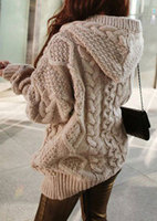 2018 New Autumn Fashion One Size Cable Knit Hooded Cardigan Autumn Girl's Autumn Sweater