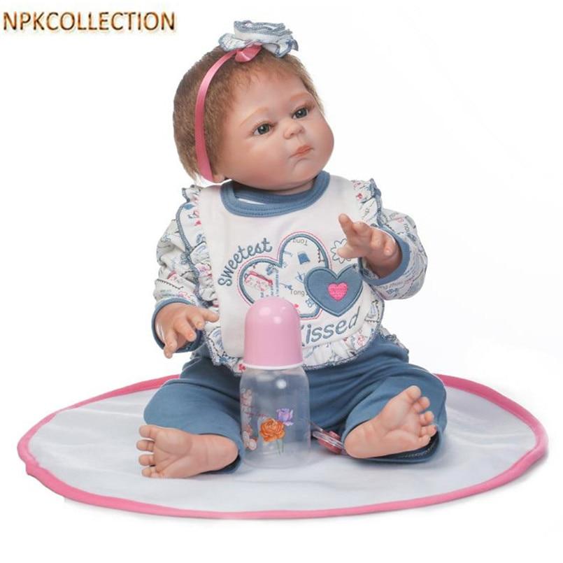 "NPKCOLLECTION 18"" Silicone Reborn Dolls Girls Doll Reborn Babies Toys Magnetic Mouth Bath Dolls Children Gift Bonecas"