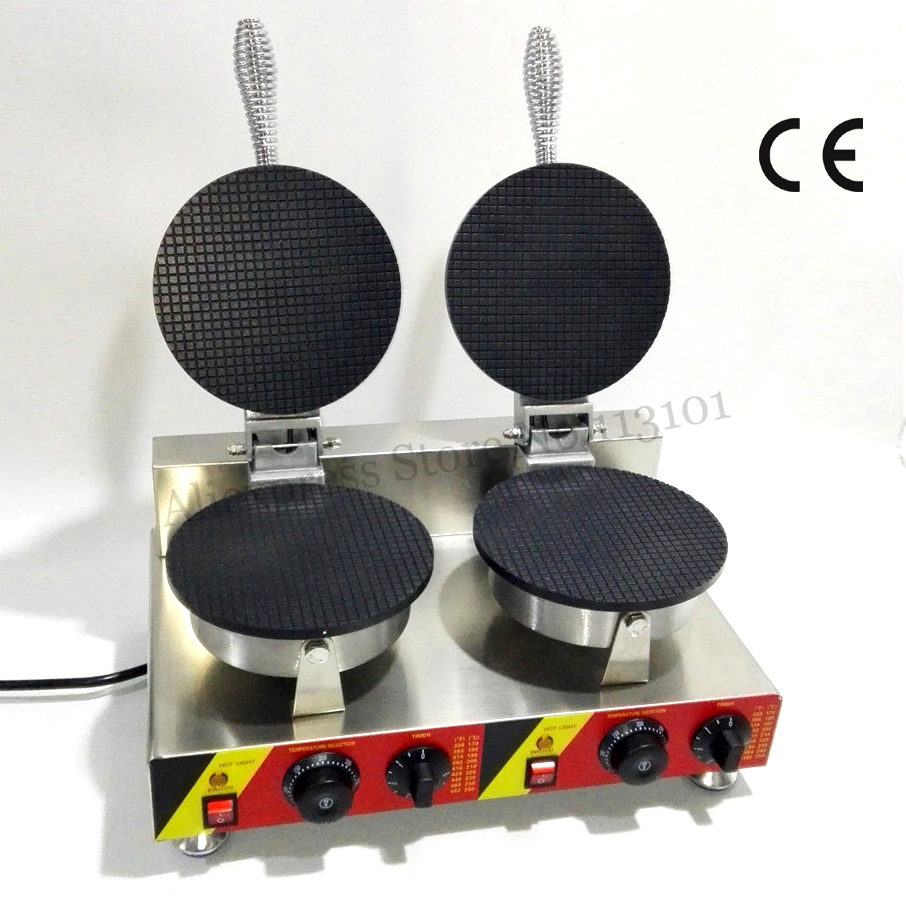 Electric Commercial Pancake Waffle Baker Maker Ice Cream Cone Machine Double Heads 2000W Nonstick Cooking Surface yu 2 commercial double head stainless steel material ice cream cone baker machine waffle cone egg roll making machine