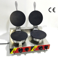 Electric Commercial Pancake Waffle Baker Maker Ice Cream Cone Machine Double Heads 2000W Nonstick Cooking Surface