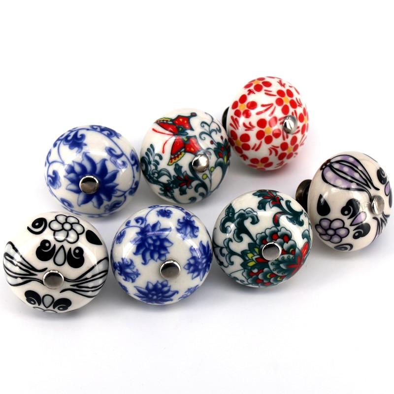 4 Pcs Ceramic Drawer Knobs Door Cupboard Pulls Handles Kitchen Knob Multi