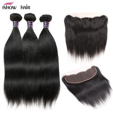 Ishow Hair Ear To Ear Lace Frontal Closure With Bundles Brazilian Straight Human Hair 3 Bundles With Closure Non Remy 4 Pcs/lot(China)