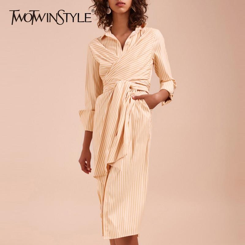 TWOTWINSTYLE Striped Dress Women Lace Up High Waist Long Sleeve Patchwork Split Shirt Midi Dresses Summer