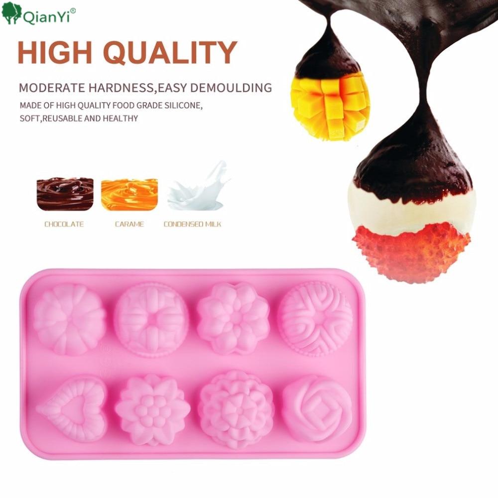 Термостойкость Еда Класс силиконовые Материал 8 цветы и растения в форме Слоты в 1 формы для желе выпечки торт ручной работы Мыло