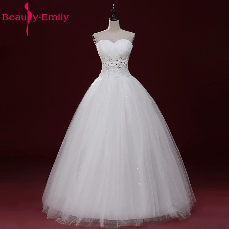Beauty Emily White Sexy Long Cheap Wedding Dresss 2017 Lace Up Ball Gown Sleeveless Bridal Gowns Vestidos de noiva