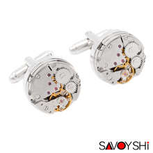 Classic Steampunk Cufflinks for Mens  High Quality Silver Mechanical Watch Movement Shirt Cufflinks  SAVOYSHI Brand Jewelry Gift