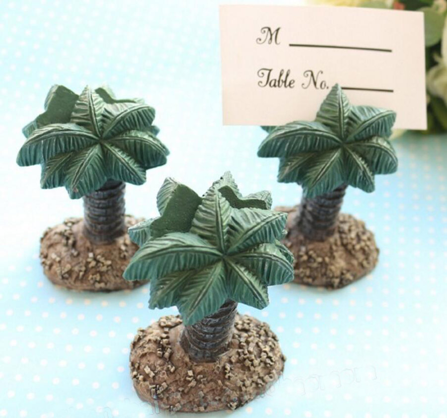 8pcs Green Plam Beach Party Name Number Table Place Card Holder For Wedding Party Holiday Venue Decoration New Arrival
