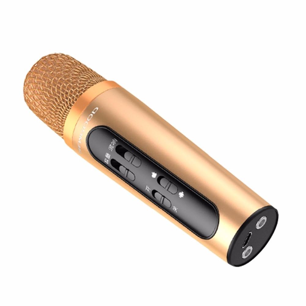 Moveski K-10 Professional Handheld Karaoke Mini Studio Microphone Condenser Player Singing Recorder for IOS Android PC 2016 new k068 wireless microphone microfone with mic speaker condenser mini karaoke player ktv singing record for smart phones