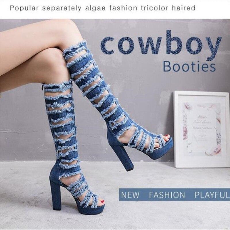 Femmes mi-mollet bottes hautes sabot talons chaussures poisson bouche orteil Sexy Stretch Denim tissu femmes bottes livraison directe