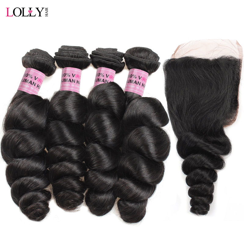 Lolly Brazilian Loose Wave 4 Bundles With Closure Non Remy Human Hair Weaves With Lace Closure Non Remy Hair Extensions