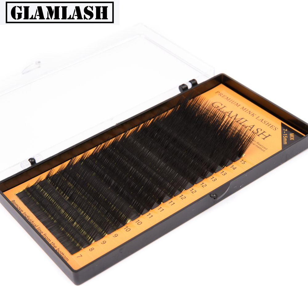 GLAMLASH 16rows/tray 7~15mm L Curl MIX Mink Eyelash Extension,L Lashes,L False Eyelashes,L Individual Eyelashes