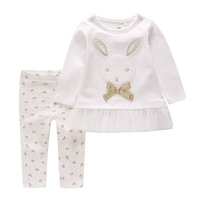 Baby Girl Clothes Set Baby Long Sleeve Cute Rabbit Ruffled Dress + Bronzing Bow Pants Set Infant Cotton Outfit Set