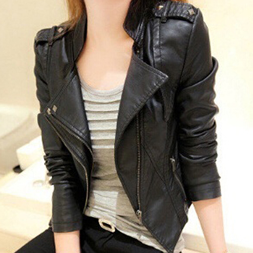 font b Women b font Fashion Faux Leather font b Jacket b font Turn down