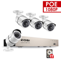 ZOSI 4CH 1080P NVR Kit 1TB 48V POE CCTV System 4PCS Outdoor Security PoE IP Camera