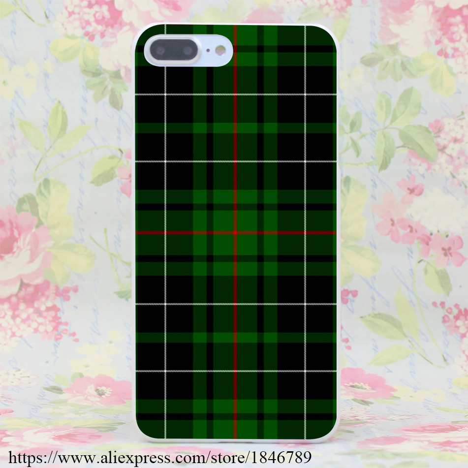 656J Green and Red Scottish font b Tartan b font Hard White Cover for iPhone 7