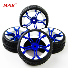 4Pcs/Set 1:10 Scale On Road Racing Rubber Tires and Wheel Rim fit HSP HPI RC Rally Car Model Accessories Parts