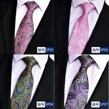 NiniRusi hot paisley tie for mens 100% silk neckties designers fashion men ties 8cm navy and red striped wedding