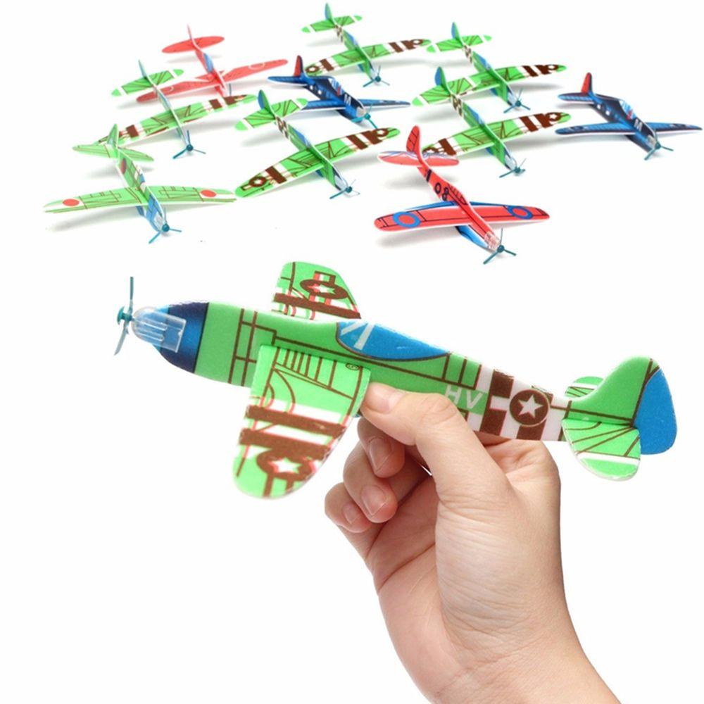 Trendy 10pcs Coloured Helicopter kids Toy Birthday Party Fantastic Gift Flying Glider <font><b>Planes</b></font> Kids Toys High Quality image