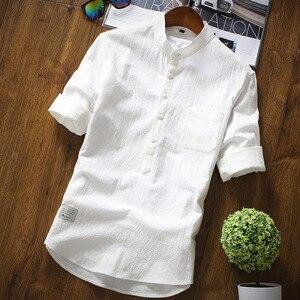 Image 3 - 2019 été marque Chemise hommes mode demi manches Chemise coton respirant Chemise hommes grande taille hawaïenne Chemise Homme