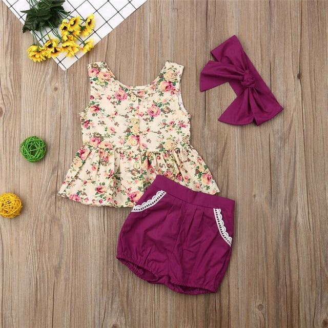 86723ea6156f Princess Baby Girl Summer Clothes Sets Infant Floral Sleeveless Button Tops  Dress Shorts Headband 3Pcs Baby
