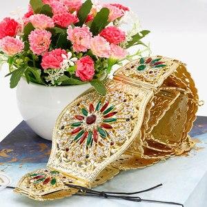 Image 4 - SUNSPICE MS Marokko Frauen Gold Gürtel Für Hochzeit Kleid Bunte Strass Ethnischen Kaftan Breite Taille Kette Körper schmuck 2019