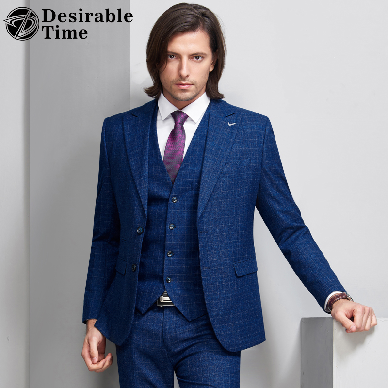 Desirable Time Mens Blue Plaid Suits with Pants for Wedding Groom Costume Mariage Homme Men