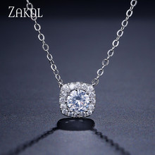 ZAKO Trendy Round Cut AAA+ CZ Zirconia Pendant Necklaces Sliver Color Square Shape Crystal Jewelry For Women Men Party FSNP072
