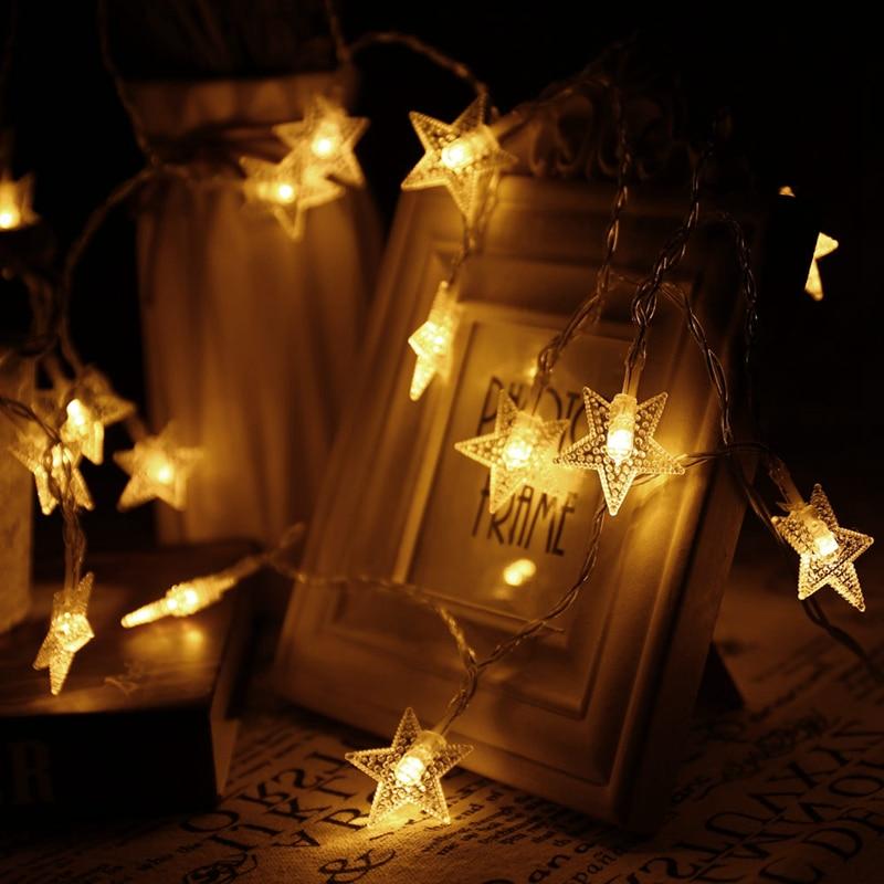 Fashion 20Led/40Led/50Led Stars Fairy String Lights for Xmas Garland Party Wedding Decoration Christmas Flasher Fairy Light