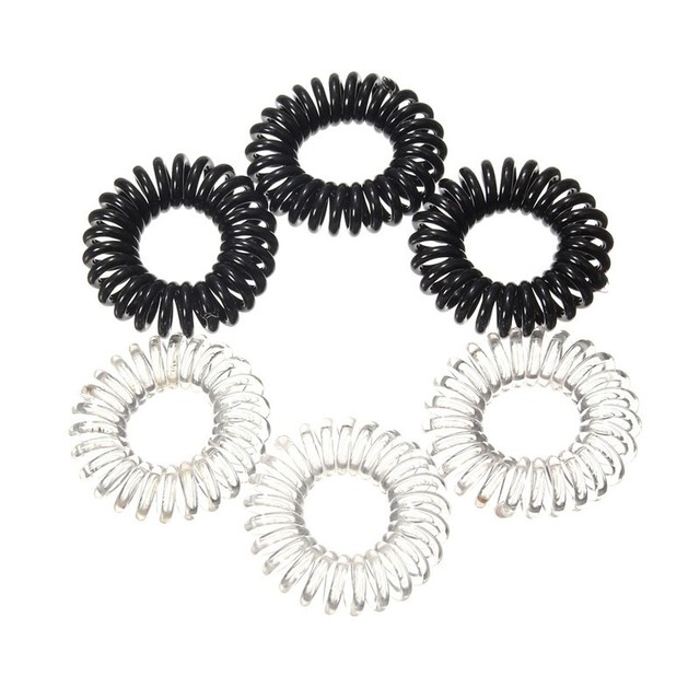 New 3pcs Clear Elastic Rubber Hairband Black Ponytail Stretchy Spiral  Plastic Hair Bracelet Hair Rope For 76616c60be8
