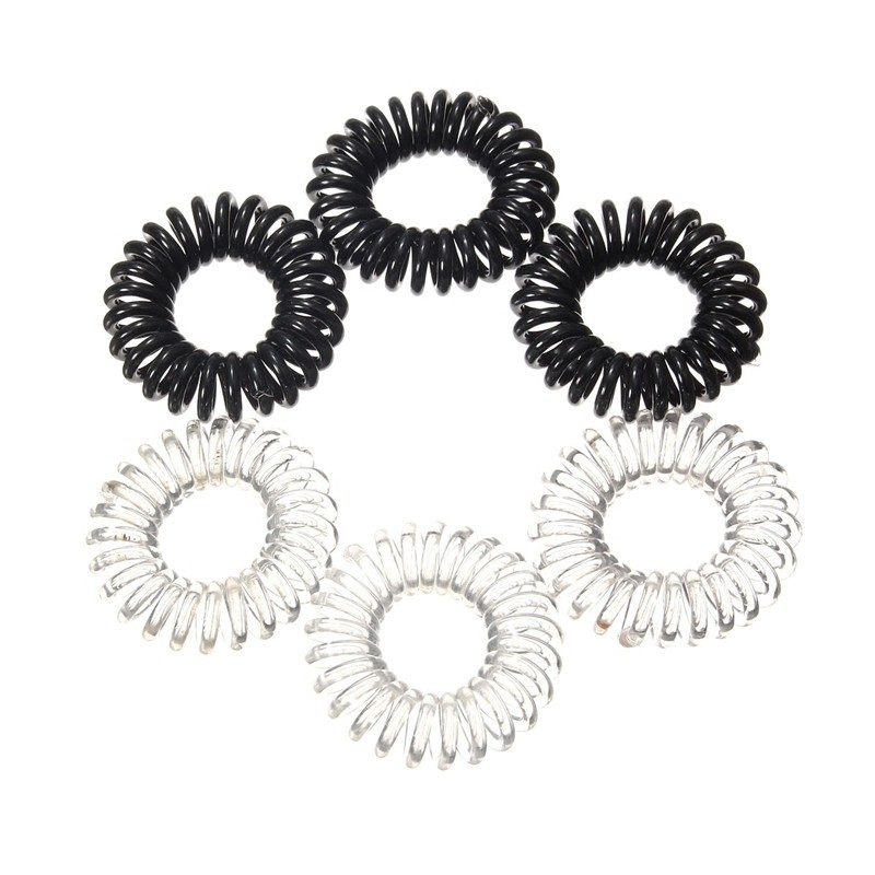 New 3pcs Clear Elastic Rubber Hairband Black Ponytail Stretchy Spiral Plastic Hair Bracelet Rope For