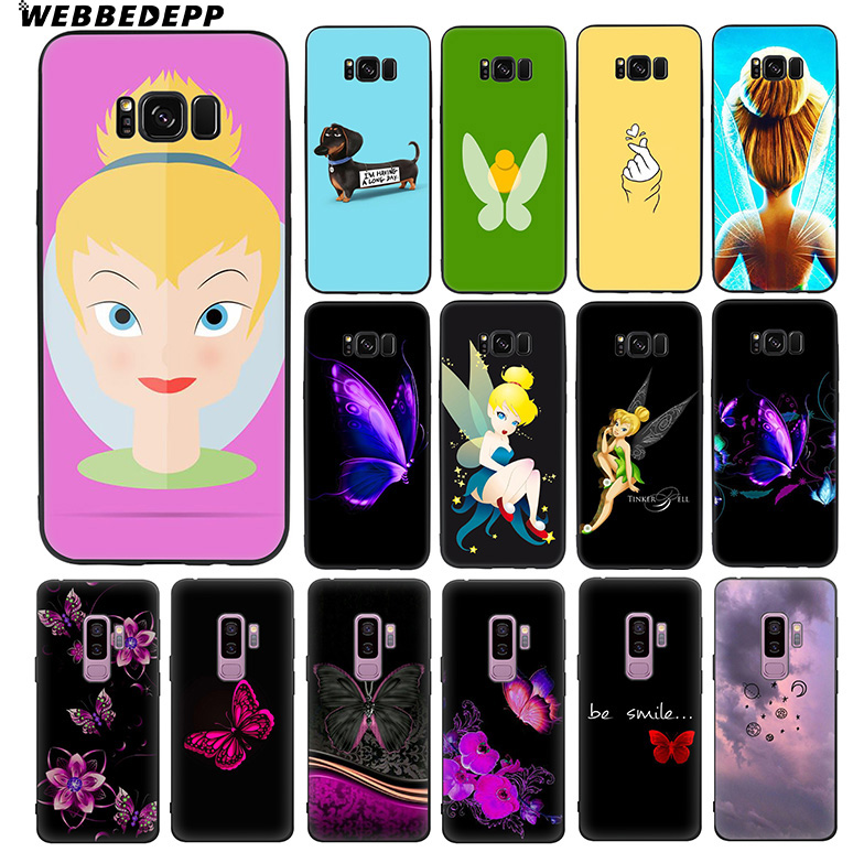 WEBBEDEPP Tinker Bell Tinkerbell Soft TPU Silicone Case for Samsung Galaxy S10 S10e S9 S8 Plus S7 S6 Edge & J6