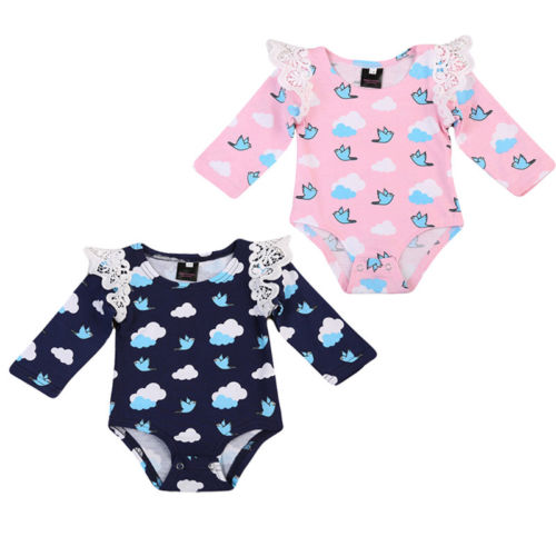 Newborn Baby Girl Infant Clothes Long Sleeve Cartoon  Bodysuit Playsuit Outfits 2 Colors 0-18M