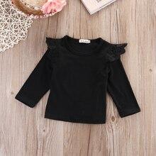 Одежда для новорожденных детей для маленьких девочек принцесса 4 шт./лот одежды Кружевная футболка с длинным рукавом Блузка повседневная одежда