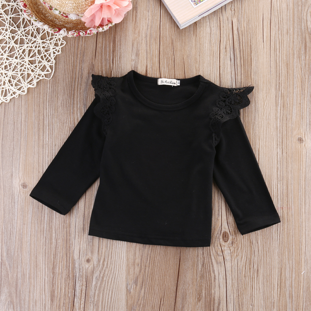 Toddler Infant Newborn Kids <font><b>Baby</b></font> Girls Princess 4PCS/Lot Wholesale Outfit Clothes Lace <font><b>Long</b></font> <font><b>Sleeve</b></font> T <font><b>shirt</b></font> Blouse Casual Clothes image