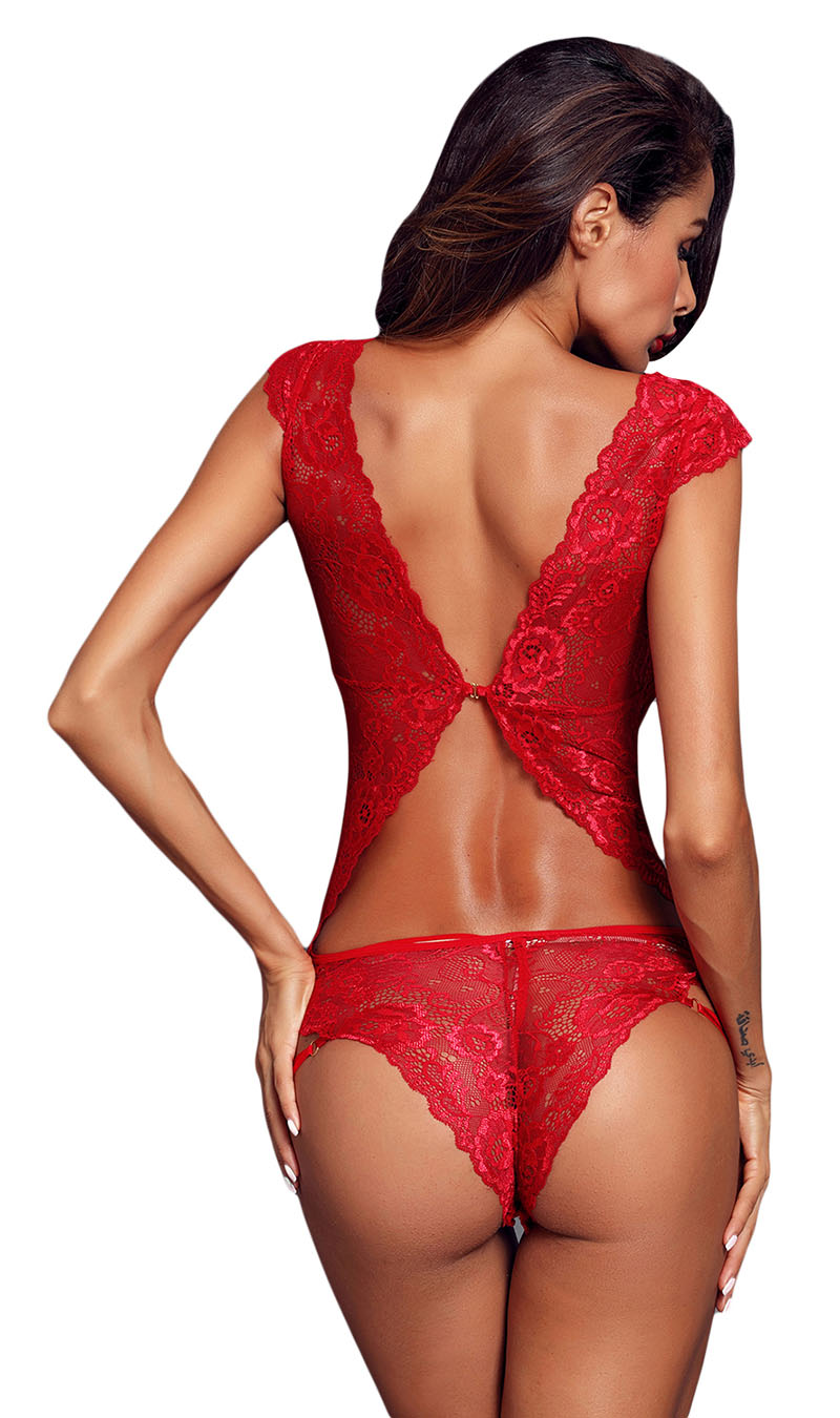 Red-Capped-Lace-Sleeve-Teddy-LC32181-3-2