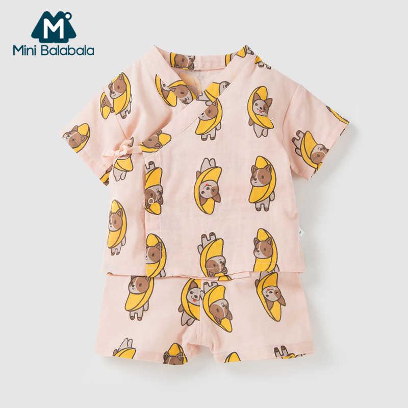Mini Balabala Pasgeboren Baby 2 Stuk 100% Katoen Korte Mouw Overhemd met Side Tie + Pull-on Shorts set Baby Baby Meisje Jongen Outfit