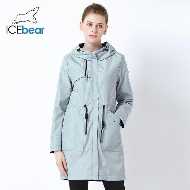 ICEbear 2019 autumn new ladies windbreaker hooded ladies jacket fashion casual women's clothing loose long clothing GWF19023I 2