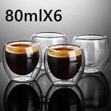 חדש זוגי וול Shot יין באר זכוכית כפולה קיר אספרסו קפה כוס תה סט כוס 80 450ml חום עמיד ספל תה משקפיים Creative