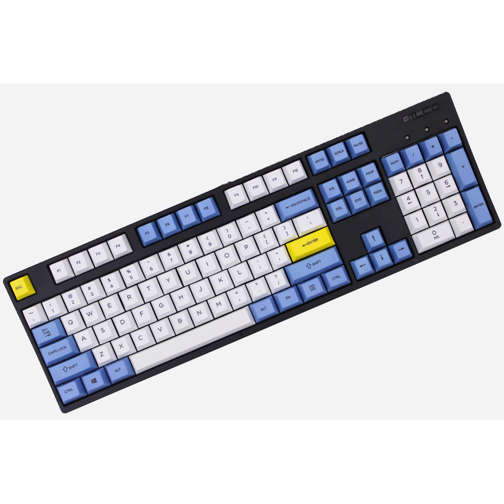 MP Dye-Sublimated 60/87/104 Keys Thick PBT keycaps Blue/White/Yellow MX Switch Cherry/NOPPOO/Flick Mechanical Keyboard Keycap mp 104 87 keys red gradient cherry mx switch pbt keycaps radium valture side printed keycap for mechanical gaming keyboard