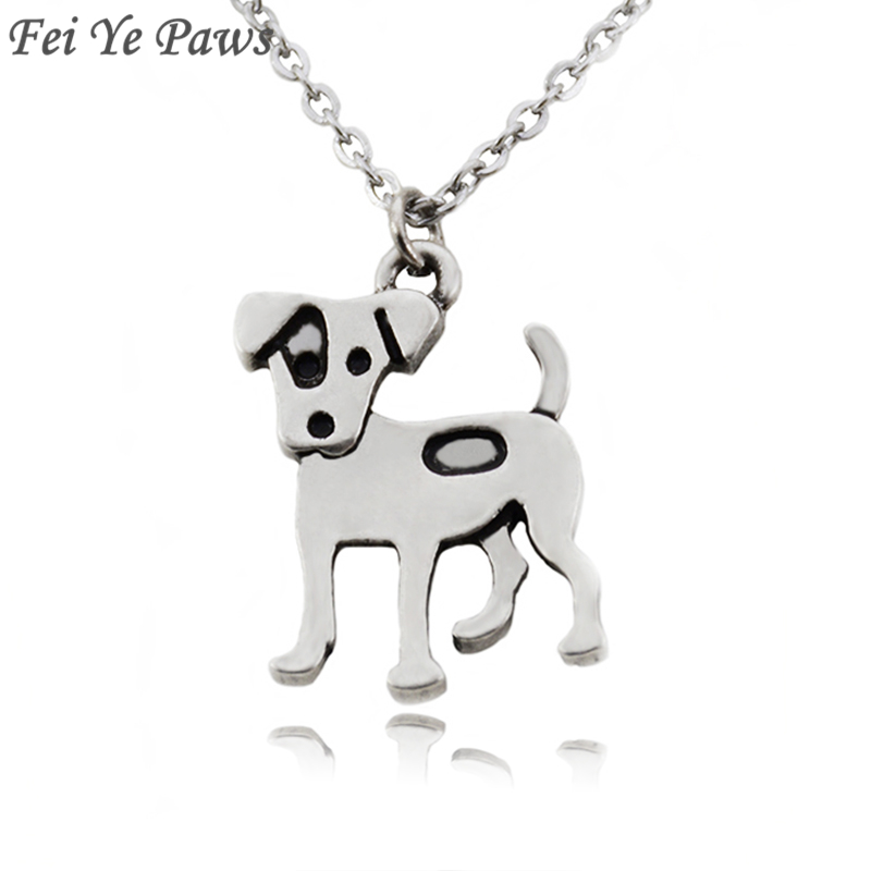 Fei Ye Paws Women Necklaces 2018 Stainless Steel Long Chain Jack Russell Terrier Charm Dog Pendant Statement Necklace Girl Gift