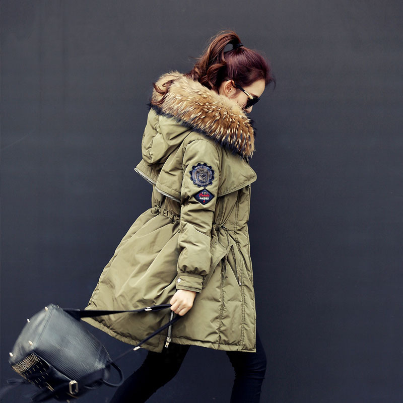 430c06a52 US $87.76 49% OFF|2018 Brand Raccoon Fur Winter Coat Women Long Duck Down  Army Green Abrigos Mujer Parka North Veste High Quality Jacket WD0151-in ...