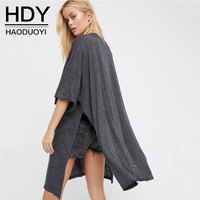 HDY Women Side Slit T Shirts 2017 Summer Autumn Sexy V Neck Long T Shirt Casual