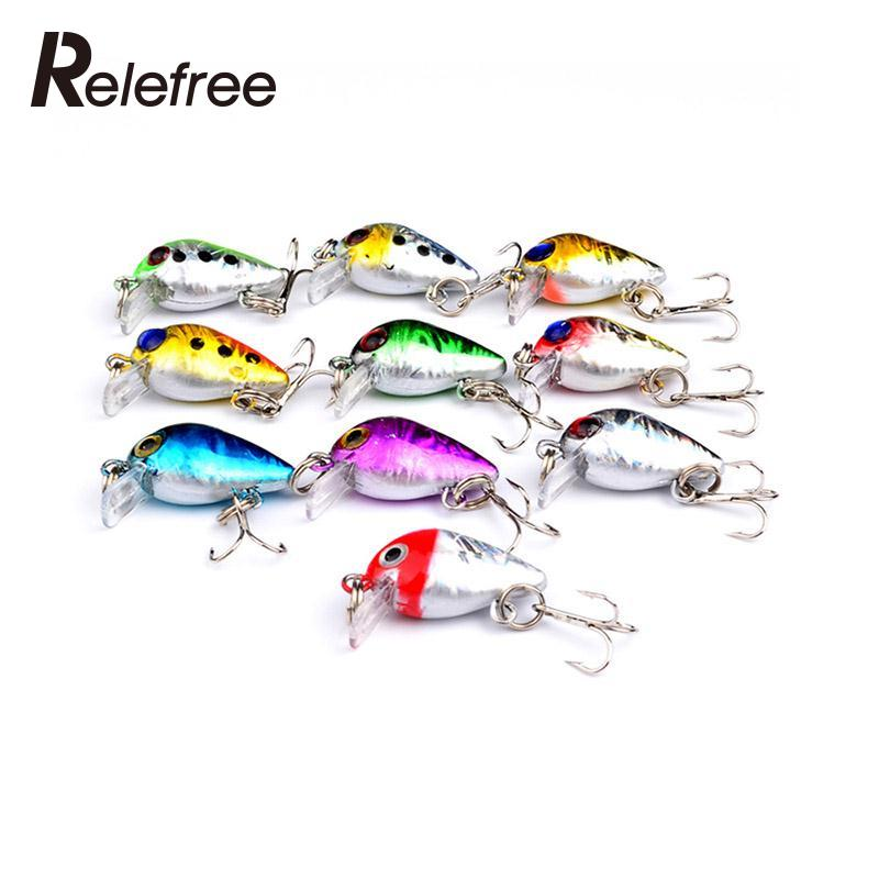 Relefree 10 Pcs Crankbaits Fishing Bait Fishing Casting Lure Floating Bait Hook approx 2.6cm 1.7g