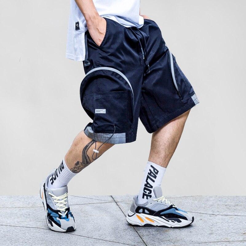 Big Pocket Design Harem Shorts Reflective Striped Jogger Men Tennis Pants Fashion Shorts Summer Streetwear Hip Hop Knee Length