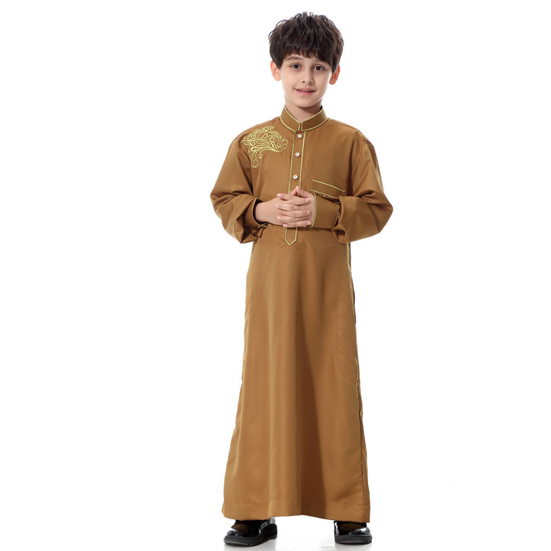 Kids Embroidered Muslim Robe For 5-15 Years Boys Daily Dress Teenage Arabic Abaya Islamic Kaftan Fashion Robes Jubah Clothing satin embroidered slip dress with robe