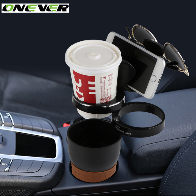 Onever Multi Functional Car Auto Cup Phone Holder Sungles Drink Coffee Storage Box Organizer For Coins Keys