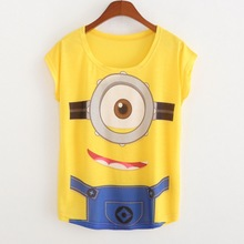 New 2017 Summer Style Fashion Brand T Shirt Women Short Sleeve Minions Printing Women T Shirt